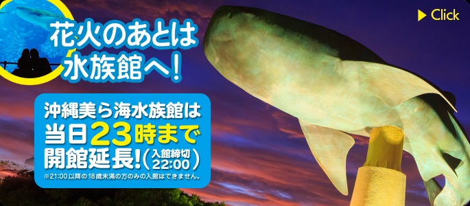 After fireworks to aquarium! On the day we are opened until 23:00 and extend!