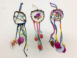 The making of dream catcher of pressed flower